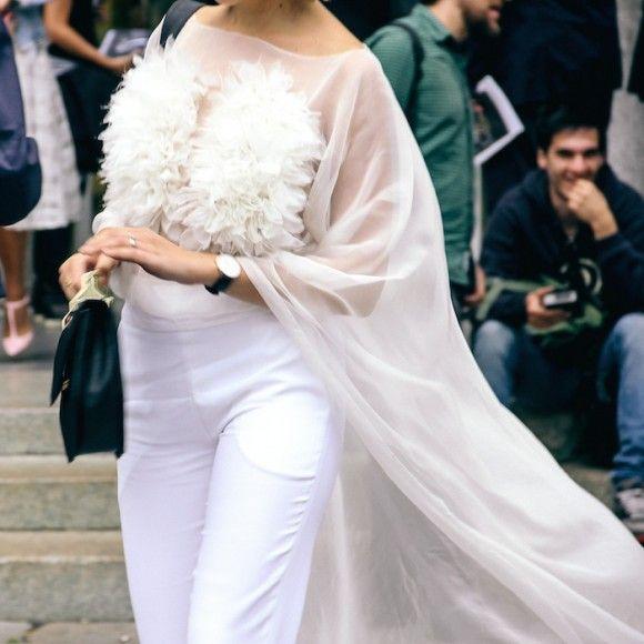 Street Style Details of Milan Fashion Week - the Wedding dress version of street style