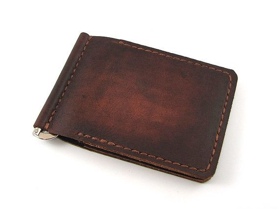 Leather Money Clip  Wallet  /   Hand Dyed Distressed Leather Men's Card Wallet