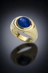 7.55 CT Blue Star Sapphire 18 Karat Gold Ring - Available Gallery - Paul Farmer      Goldsmith