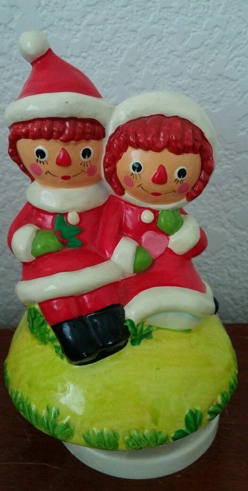 VINTAGE 1960'S SANTA RAGGEDY ANN & ANDY CHRISTMAS MUSIC BOX JAPAN SILENT NIGHT