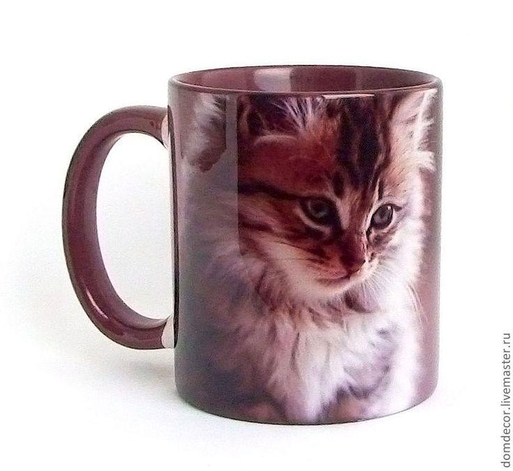 """Купить Чашка """"Про мысли"""" - коричневый, котенок, кот, кошка, женщины, мысли, афоризмы, фразы"""