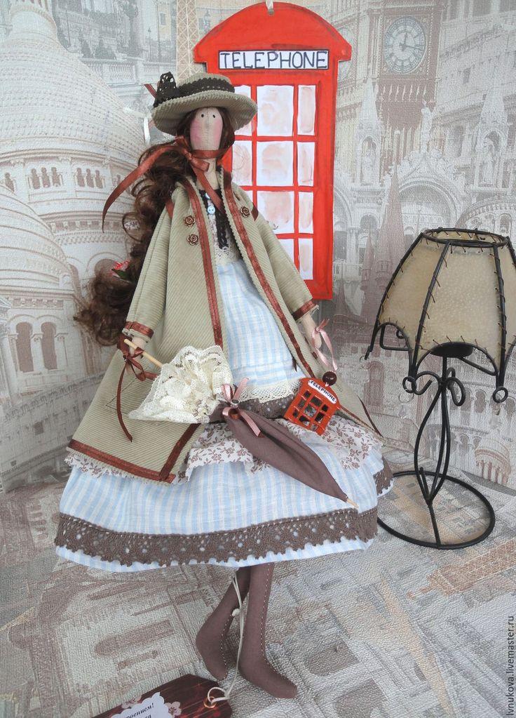 Купить Тильда Ангел в английском стиле - коричневый, кукла ручной работы, кукла интерьерная