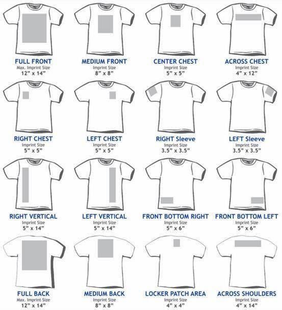 18 best transfer size placement images on pinterest for T shirt left chest logo size