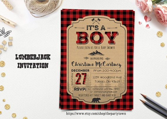LUMBERJACK BABY SHOWER invitation, It's a Boy Winter shower printable, Buffalo Plaid Woodland Invite, Rustic Bear baby shower invitation