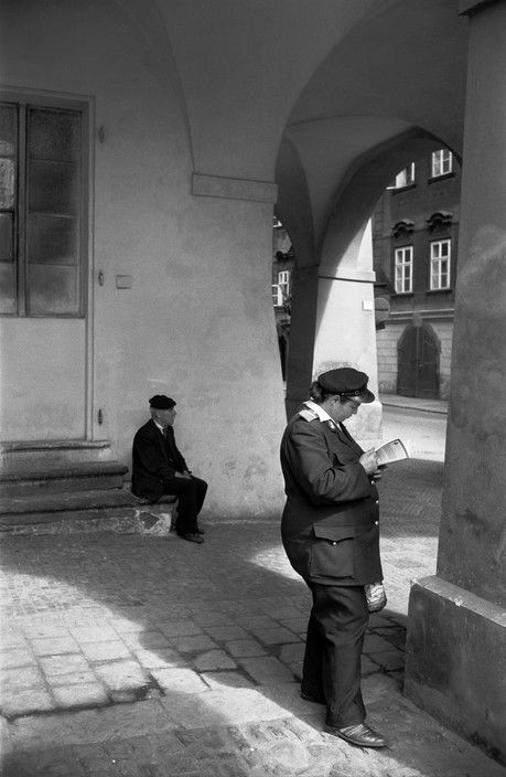 Erich Lessing - Prague. 1956. Prague, townscape, Mail-woman.