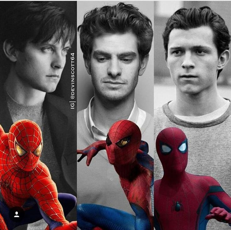 Spider-Men Tom Holland, Tobey Maguire and Andrew Garfield