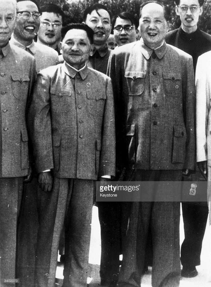 Chinese communist leader and first President of the People's Republic of China, Mao Zedong (1893 - 1976) with Deng Xiaoping at Peking.