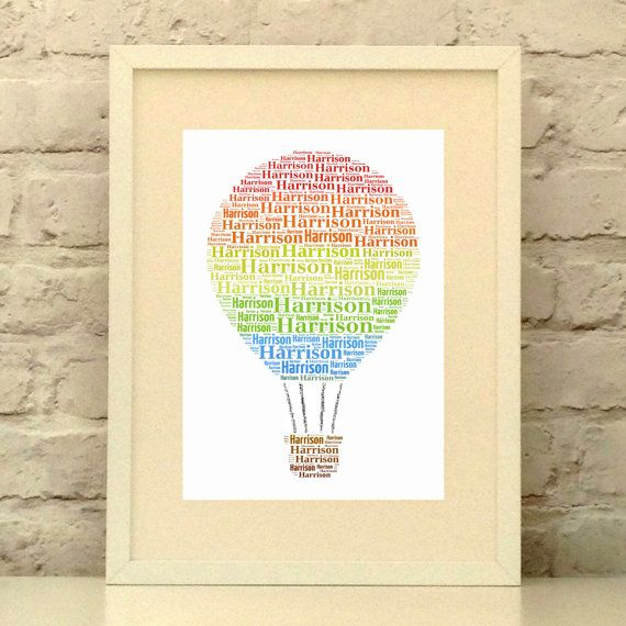 Hot Air Balloon Personalised Name print  This will make a personal and bright focal point in any room.  Send me a single name and I will doodle a