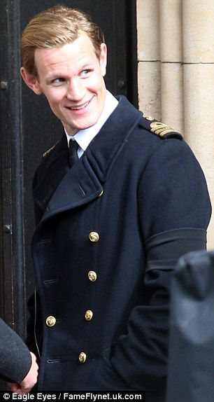 A transformation: Matt Smith and John Lithgow transformed themselves into the characters of Prince Philip and Winston Churchill as filming for Netflix's The Crown got underway on location in London on Tuesday