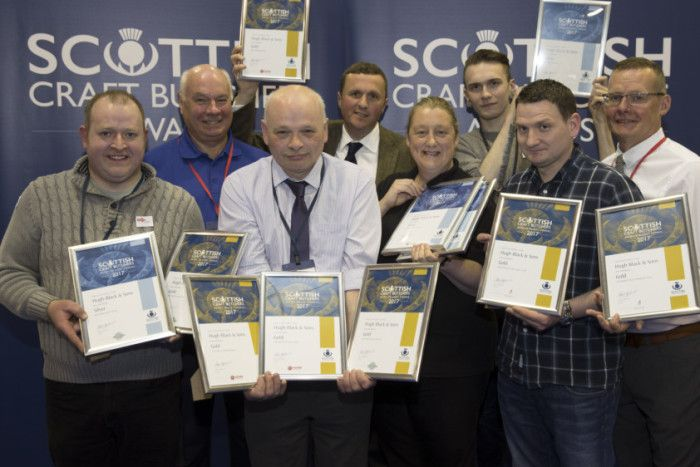 Award winners (from left) Chris McArthur of the Lanark shop, Tom Lawn of Scobies Direct, Hugh Black, John Harvey, Judith Johnston from Lucas, Kenneth Slater, James McFarlane and Archie Hall from Dalziel