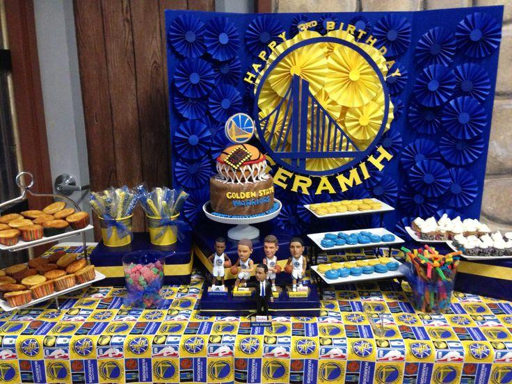 My sons Golden State Warriors dessert table #letsgowarriors #goldenstatewarriors