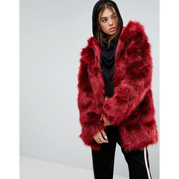 Story Of Lola Faux Fur Coat With Hood And Backpack Straps ($145) ❤ liked on Polyvore featuring outerwear, coats, red, red coat, vintage style coats, fake fur coat, hooded coat and red faux fur coat