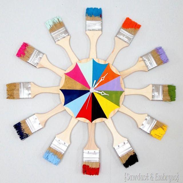 Ρολόι Τοίχου από Πινέλα ή Κουτάλες, και χρώμα!