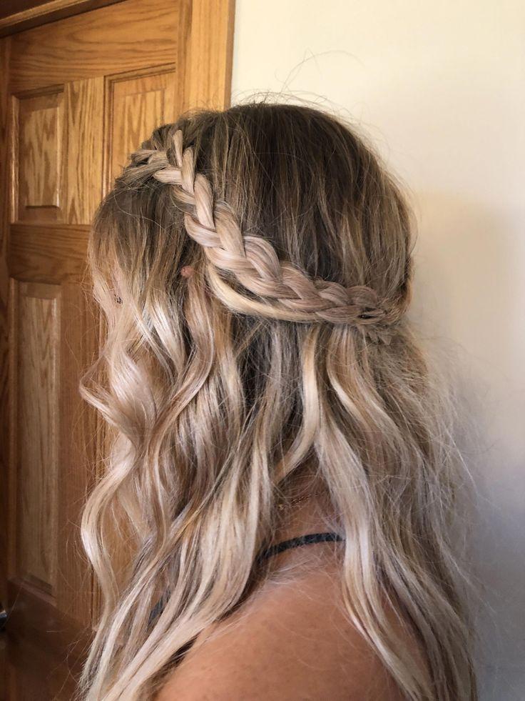 Braided Half Up Half Down Hairstyle Updospromhairstyles Braided Hairstyle Updospromhairstyles Prom Hair Down Wedding Hair Down Hair Down With Braid