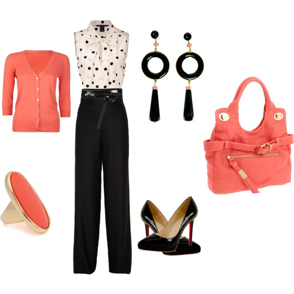 Untitled #11, created by ocosto on PolyvorePolka Dots, Coral Colors, Dresses, Colors Combinations, Polyvore Ocosto, Work Chic, Create, Untitled 11, Earrings