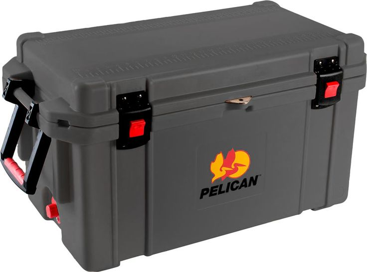 """65 Quart Grey Cooler: The quality you've come to expect from Pelican now also matches your favorite things in life! Don't worry about your tailgaiting grub getting too warm or your team's water bottles not staying cold enough. Up to 10 days ice retention*, freezer grade gasket, 2"""" polyurethane insulation, Guaranteed for life, Assembled in the USA, Bear resistant certified from the Interagency Grizzly Bear Committee."""