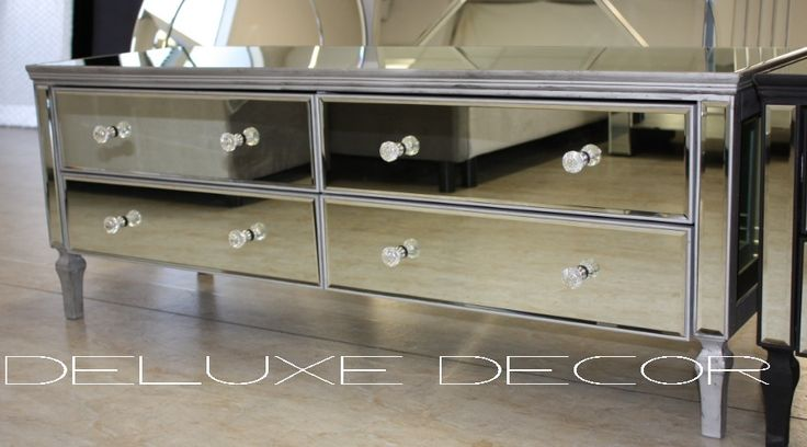 Silver Edge Silver Mirror 4 Drawer Low Chest Or Tv Stand