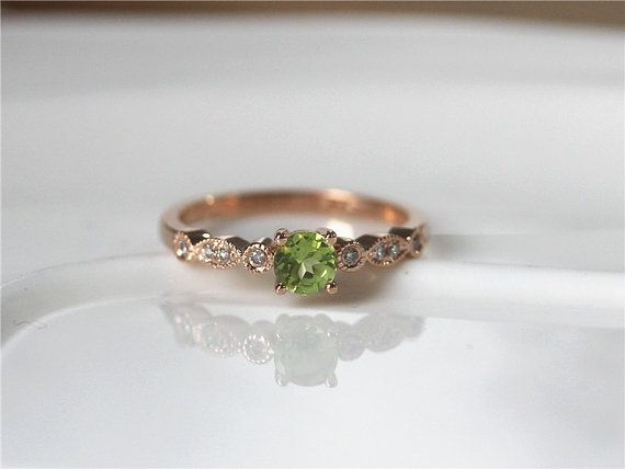August Birthstone 4.5mm Round Cut Peridot Engagement Ring 14K Rose Gold  Peridot Ring/Wedding Ring /Anniversary Ring/Unique Engagement Ring