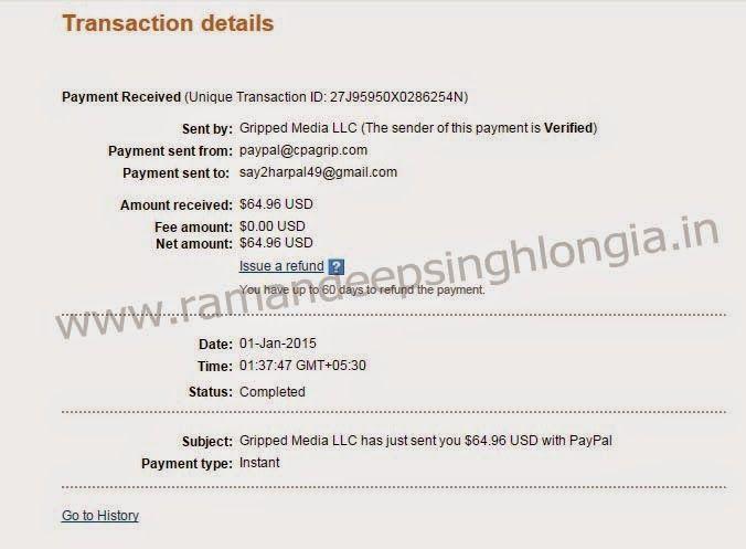 CPAGrip Network Review & Payment Proof - Raman Deep Singh