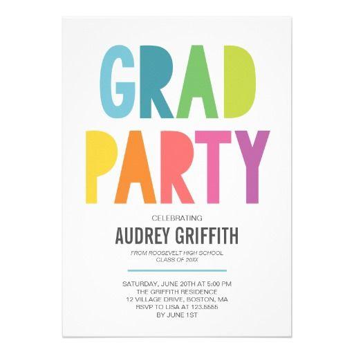 2016 Graduation Invitation Bright Colorful Grad Party Invitation