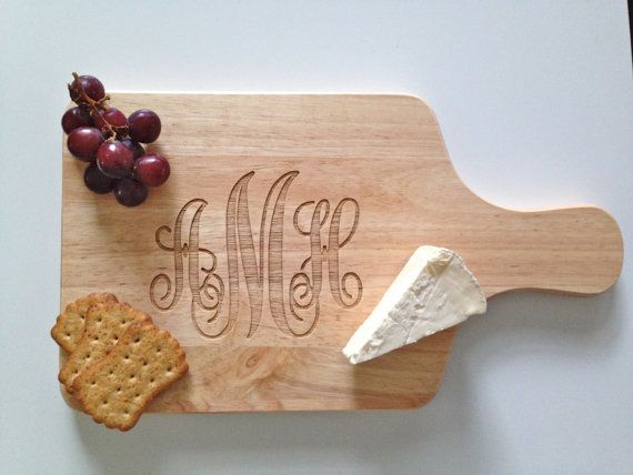 Cutting Board with Script Monogram - Monogrammed Cheese Board - Classic Wedding Gift