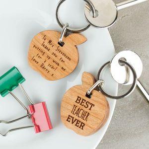 Personalised Wooden Gift Best Teacher Keyring Apple - gifts for teachers