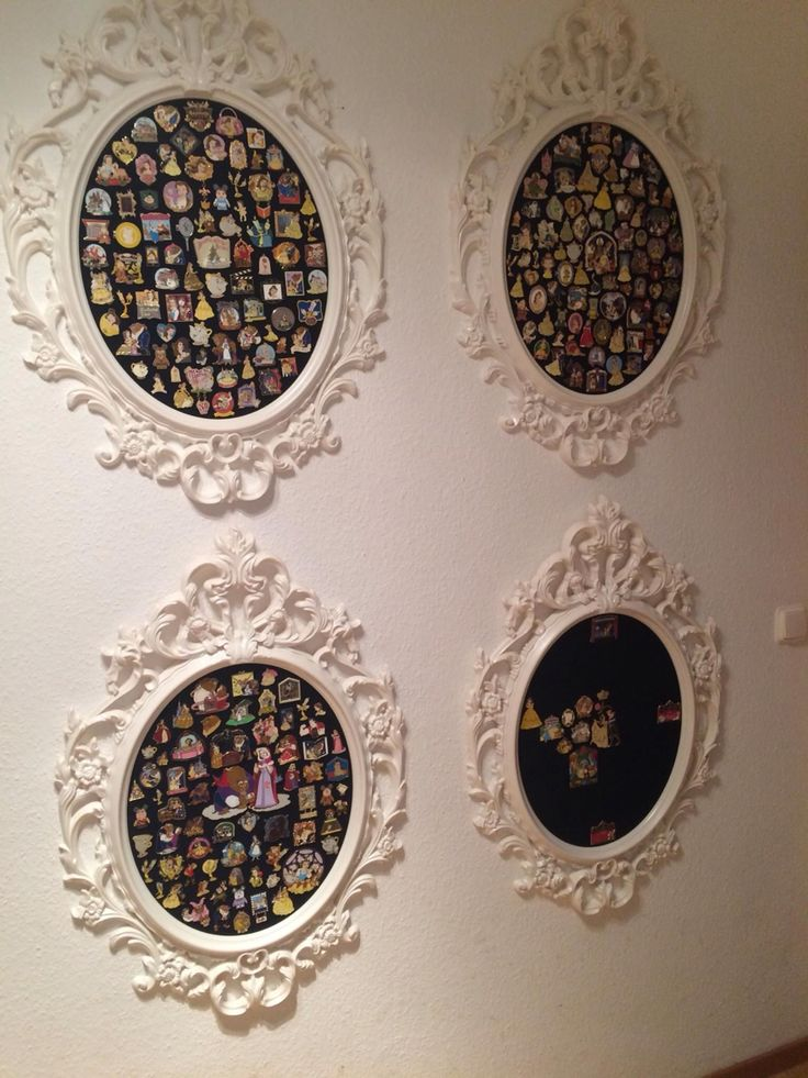 Beautiful white frames that you can get it @homegoods to display your Disney pins in