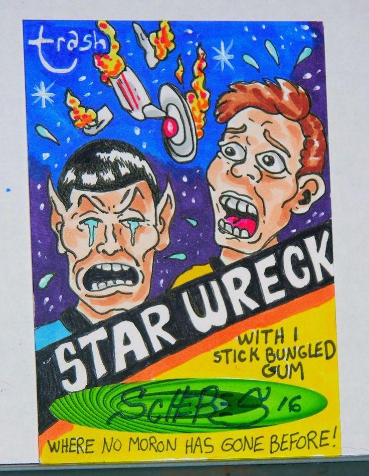 ORIGINAL ART SKETCH CARD WACKY PACKAGES STAR WRECK SCHERES STAR TREK  #PopArt