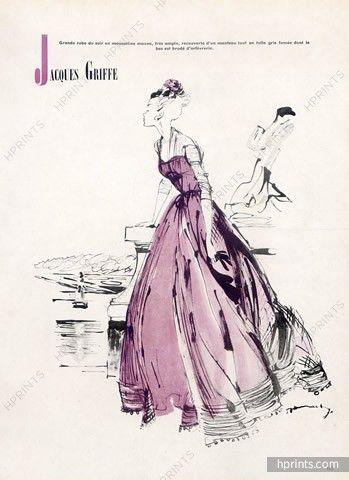 Jacques Griffe (Couture) 1948 Jacques Demachy, Evening Gown