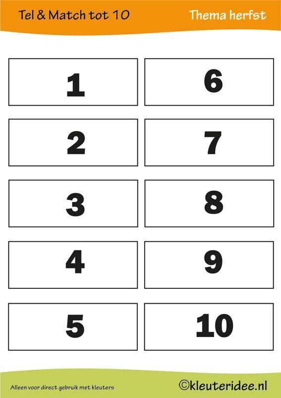 5 Spelbladen: Tel & match tot 10, thema herfst, juf Petra van kleuteridee, count & match 1-10, Preschool autumn theme, free printable 2.