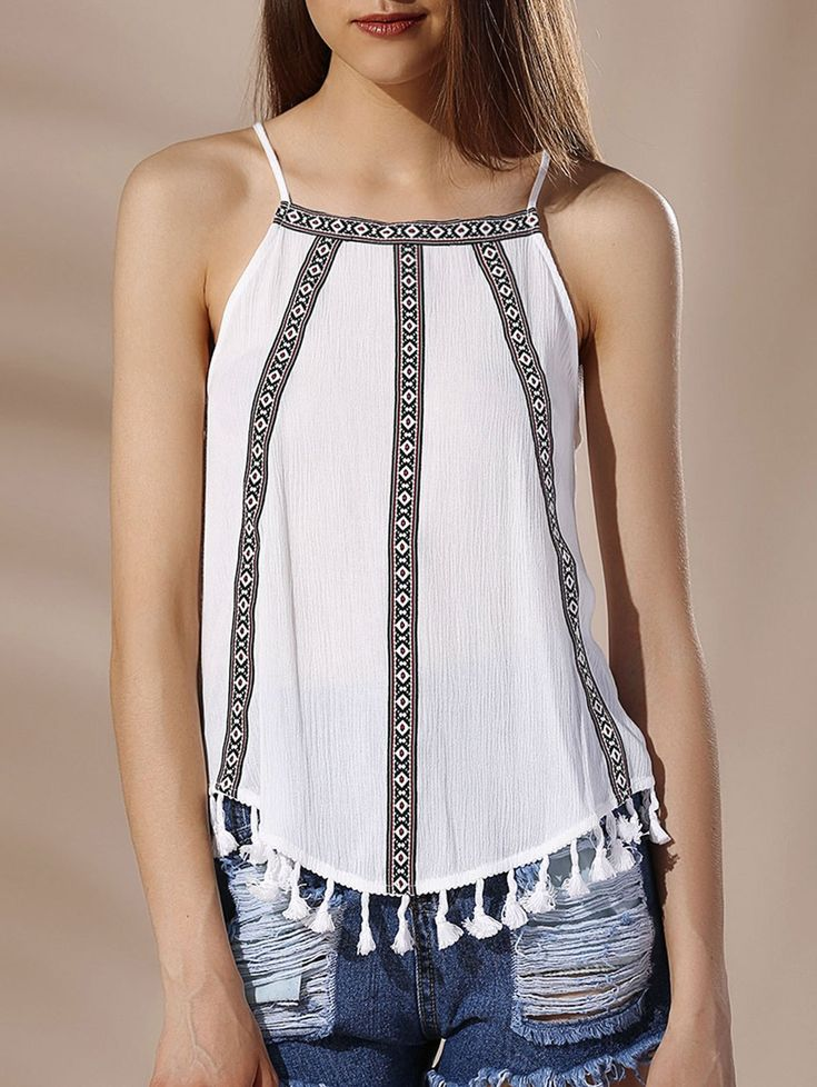 Chic Spaghetti Strap Tribal Print Fringed Tank Top For Women #White #Fringe #Tank_Top #Fashion