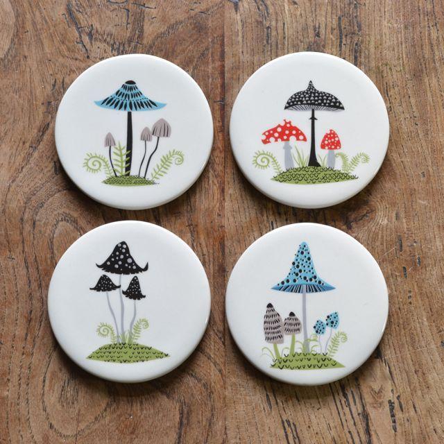 Ceramic Toadstool Coasters by Hannah Turner