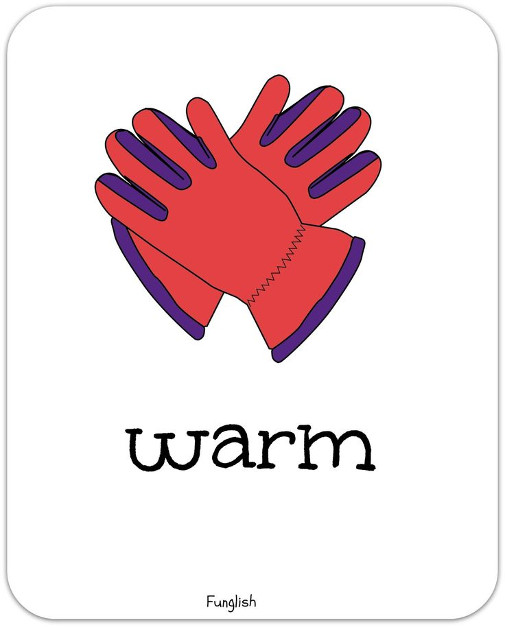 clothes, gloves, flashcards, warm, adjectives