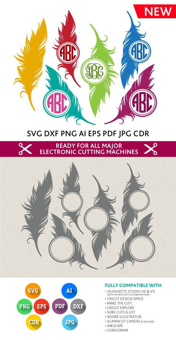 Feather Monogram Frame Svg Cut Files - SVG DXF Silhouette Studio Png Eps Pdf Jpg Ai Cdr files for Silhouette Studio, Cricut, Cameo