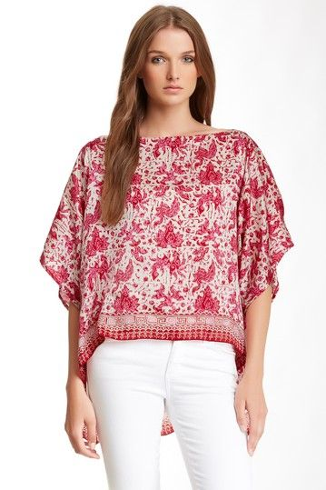 Printed Hi-Lo Silk Crop Tee by Subtle Luxury on @HauteLook