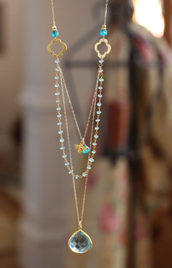 Long Multi Layer Necklace Wire Wrapped by HappyGoLuckyJewels, $84.00