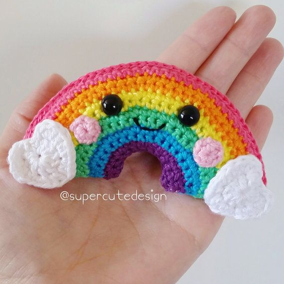 * Please note that this is a crochet pattern PDF and NOT a finished item *  Who doesnt want a little rainbow in their life?!  It comes in two