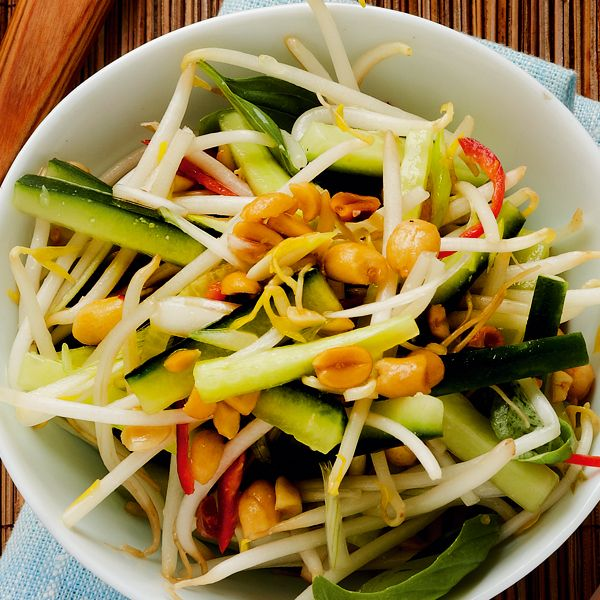 Serve this quick Thai salad recipe with Thai green chicken curry, baked rice and mango fools.