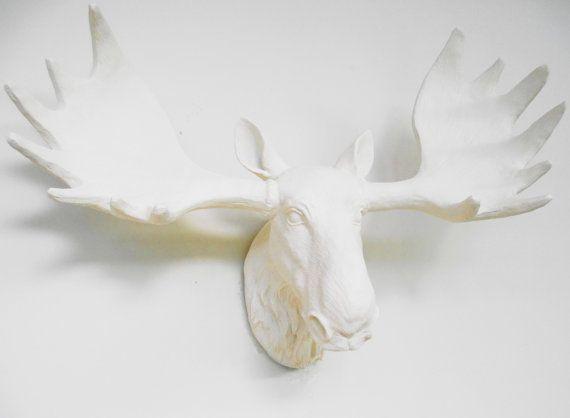 Moose Head Faux Taxidermy Moose White Moose Head by hodihomedecor, $88.00