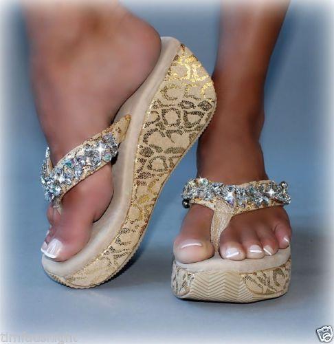 "Corky's ""Gypsy Rocks"" Gold Bling Flip Flop Jeweled Wedge Super Comfy   eBay"