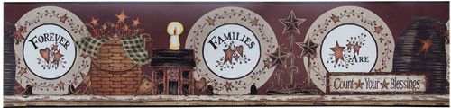 Family Forever Count Your Blessings Plates Wall Paper Border Hearts Stars Country Primitive Decor