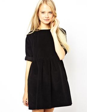 Image 1 of ASOS Cord Smock Dress in Black