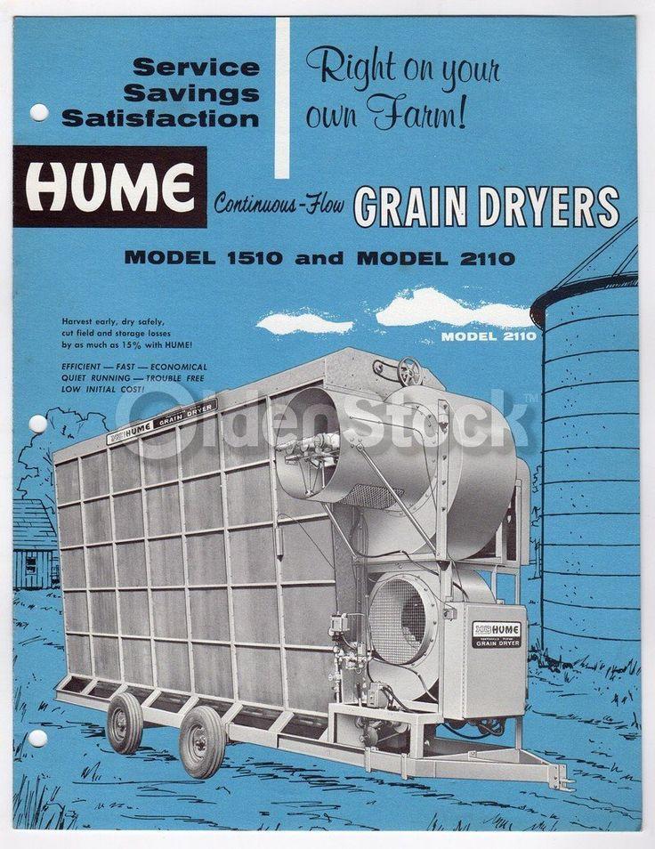 Hume Grain Dryers Vintage Farm Equipment Graphic Advertising Flyer
