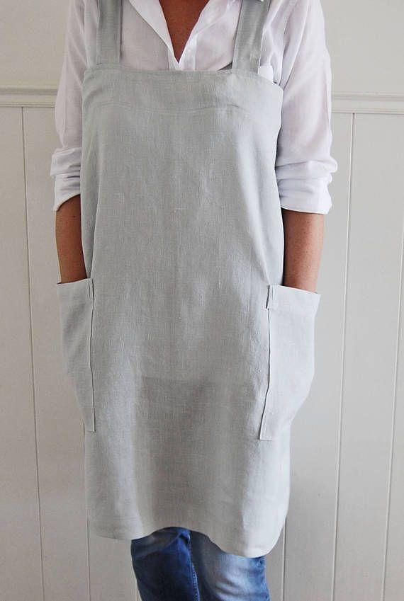 Linen apron Cross back apron Japanese apron No tie apron