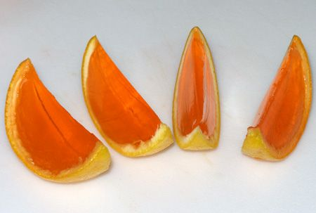 Jello orange slices -  This website shows how to make them into shots but I think its just neat to make them with just the jello!