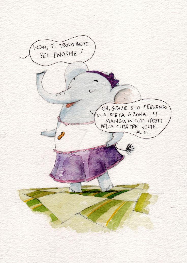 Tina l'elefantina by IreneMontano.deviantart.com on @DeviantArt #elephant #illustration #watercolor