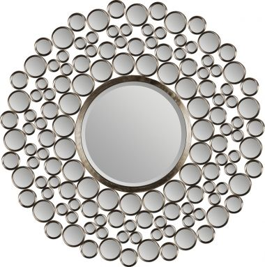 This awesome design features dozens of small mirrors and a large beveled round mirror in a satin-nickel plated metal frame. Fashionable and chic, this mirror is a great addition to your home d�cor!