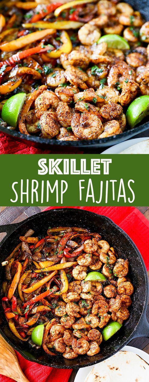 Skillet Shrimp Fajitas sind ein schnelles und einfaches Rezept für ein gesundes Abendessen, das …   – Recipe