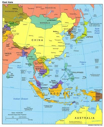 Southeast Asia Redrawn From A Map Produced By The U S Central Intelligence Agency In 2004