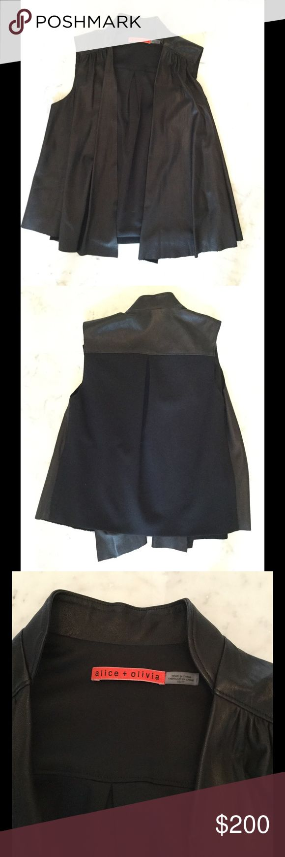 Alice and Olivia Black Leather Vest In excellent like new condition. Client may have worn 1-2x tops. TTS. Back is a heavier knit. NO TRADES, MODELING OR PP. Alice + Olivia Jackets & Coats Vests